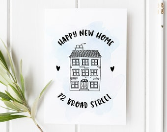 happy new home card house illustration card house warming card new home greeting personalised new home card custom congratulations card