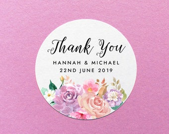 Wedding Thank You Stickers, Personalized Floral Thank You Labels, Pretty Wedding Stickers, Wedding Favour Stickers, Party Favor Stickers