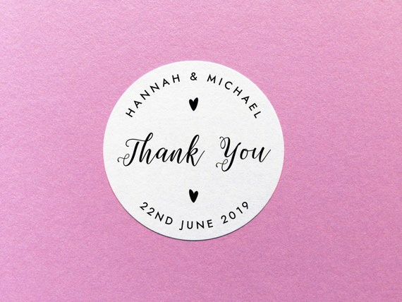 personalised thank you stickers wedding thank you labels etsy