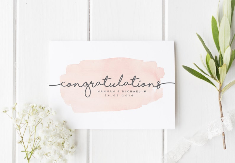 Wedding Greeting Cards.Personalized Wedding Card Newly Married Couple Greeting Card Watercolour Congratulations Wedding Card Personalised Wedding Happy Couple