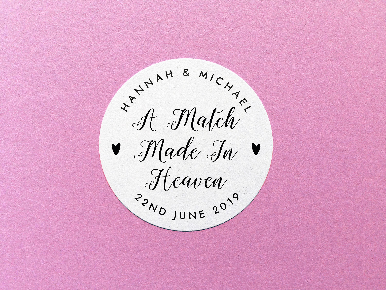 Match Made In Heaven Stickers, Matchbox Wedding Favour, Sparkler ...