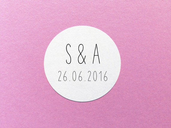 initials wedding label save the date sticker wedding date etsy