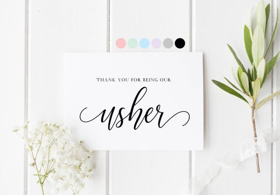 Thank You For Being Our Usher, Card For Usher, Thank You Usher Card, Wedding Usher Card, Wedding Thank You, Special Thank You Card For Usher