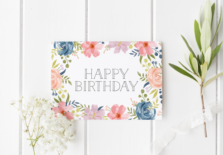 Pretty birthday card flower birthday card best friend card etsy pretty birthday card flower birthday card best friend card birthday card for mom simple birthday card birthday card for her cute card izmirmasajfo