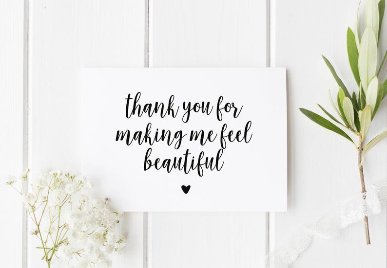 Makeup Artist Thank You Card, Card For Hairdresser, Thank You For Making Me  Feel Beautiful, Card For Wedding MUA, Wedding Thankyou Makeup