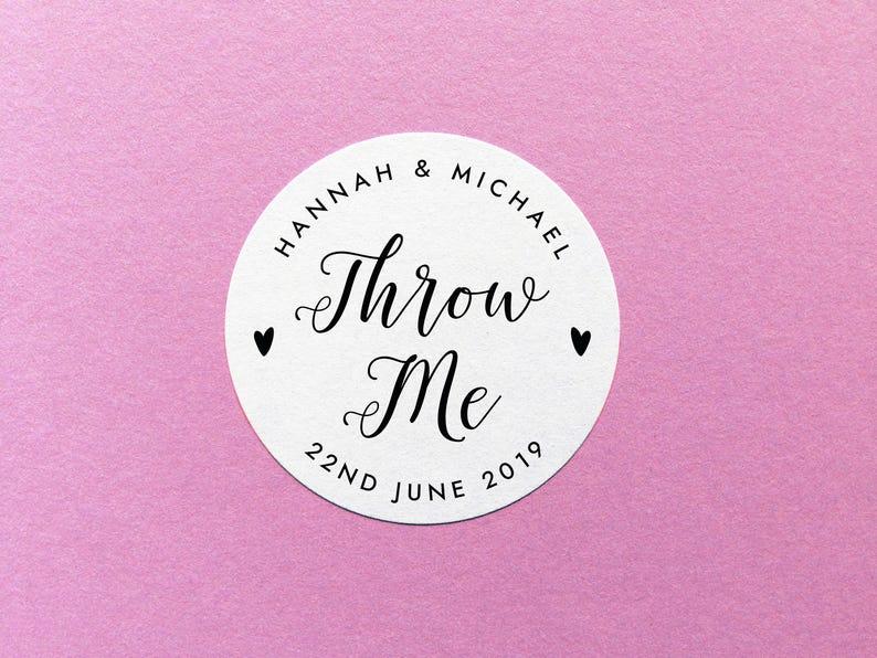 Wedding Confetti Stickers Custom Throw Me Confetti Wedding Label Confetti Sticker Personalised Throw Me Sticker Wedding Favour Labels