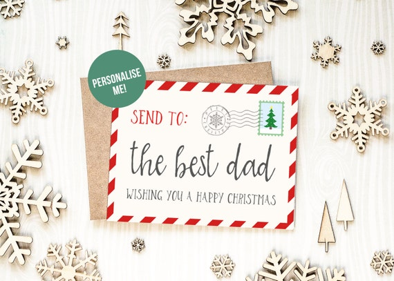 Christmas Card For Dad, Santa Post Card, Best Dad Christmas Card, First Christmas As Dad Card, Personalised Christmas Card For Dad, Postcard