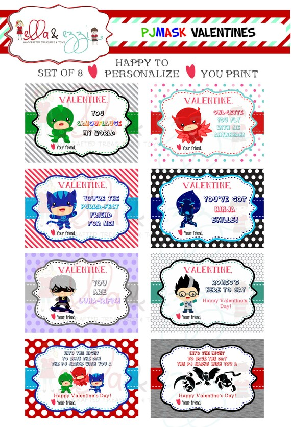 Printable Valentines PJ Mask Printable Valentines PJ Mask