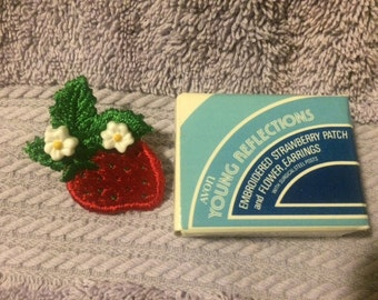 Vintage Avon Embroidered Strawberry Patch and Flower Earrings New in Box 1982