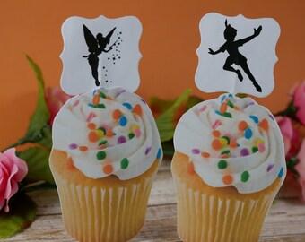 Peter Pan cupcake picks, Peter Pan cupcake topper, Peter Pan birthday theme, Peter Pan Silhouette