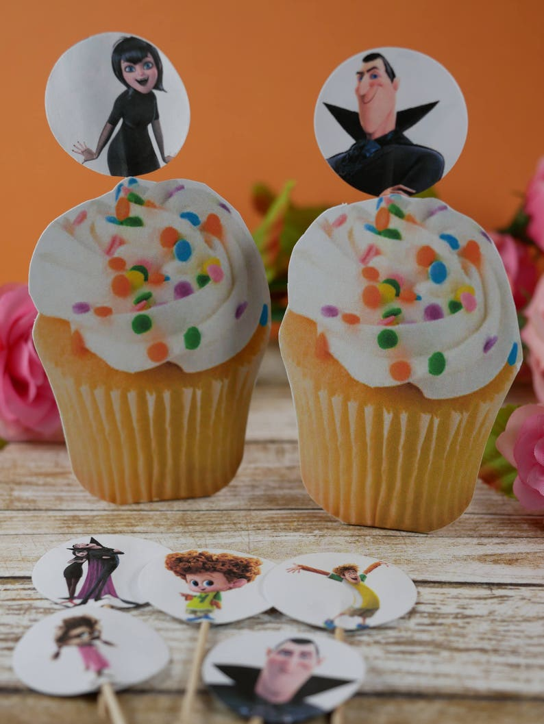 Hotel Transylvania cupcake picks double sided Birthday cupcake toppers Hotel Transylvania cupcake toppers