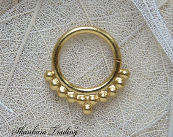 Septum Ring, Septum for pierced Nose, 14kt Gold Plated Septum Ring, Tribal Septum Ring, Indian Nose Ring, Ethnic Septum Ring, Septums