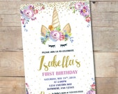 Floral Unicorn Birthday Invitation First Printable Purple Pastel Watercolor Invite Theme Party