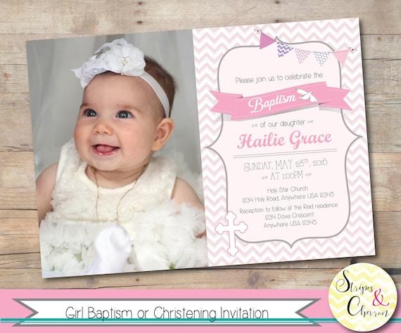 Girl Baptism Invitation Printable Christening Invite Personalized Photo Baptism Card Christening Card Baby Girl Baptism Pink Grey