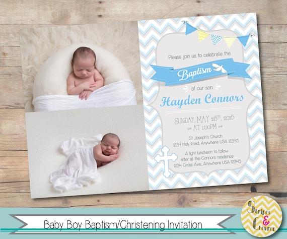 boy baptism invitation personalized christening invite etsy