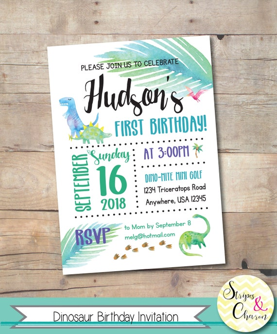 Dinosaur Invitation Printable Birthday Party Invite Custom Boy First Ideas