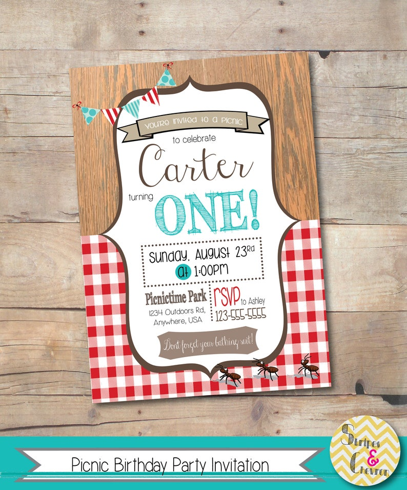 Picnic Party Invitation Printable Teddy Bear Invite Personalized Birthday First Kids Gingham