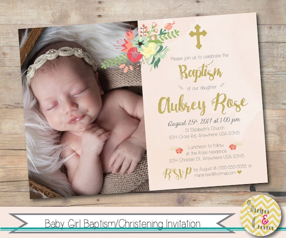 girl baptism invitation baby girl christening invitation with etsy