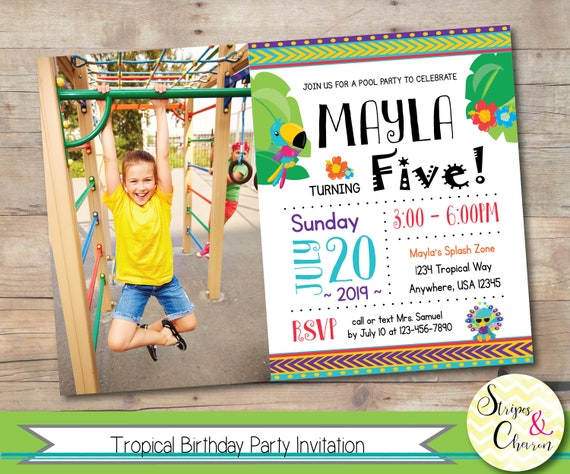 Tropical Invitation Printable Pool Party Birthday Luau Hawaiian Invite Personalized Photo Kids