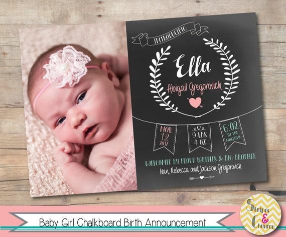 Baby Girl Birth Announcement Chalkboard Baby Photo Card Printable