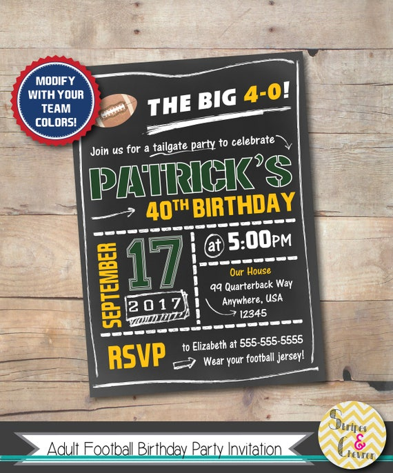 Mens Birthday Invitation Football Party Invite 40th 50th 60th 21st 16th Surprise Printable For Him NFL