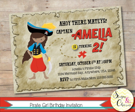 Pirate Invitation Printable Theme Invite Personalized Birthday Girl Party Princess Custom