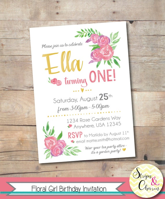Floral Invitation, Printable Garden Party First Birthday Invite, Floral 1st Birthday Girl, Personalized Party Invitation, Watercolor Flowers