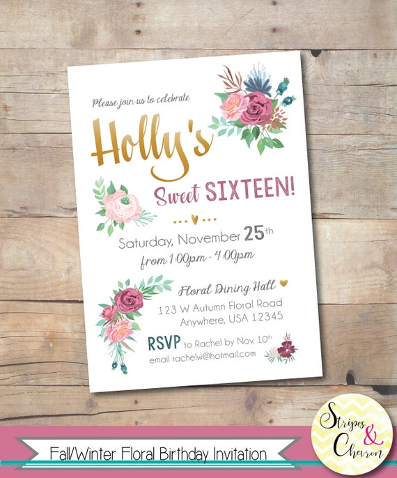 Fall Birthday Floral Invitation Printable 16th Invite Sweet 16 Winter Girls Party Burgundy Pink