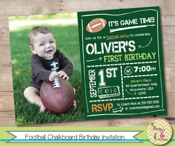 Football First Birthday Invitation Printable