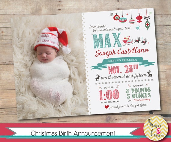 Christmas Birth Announcement Christmas Card Template Photo Baby