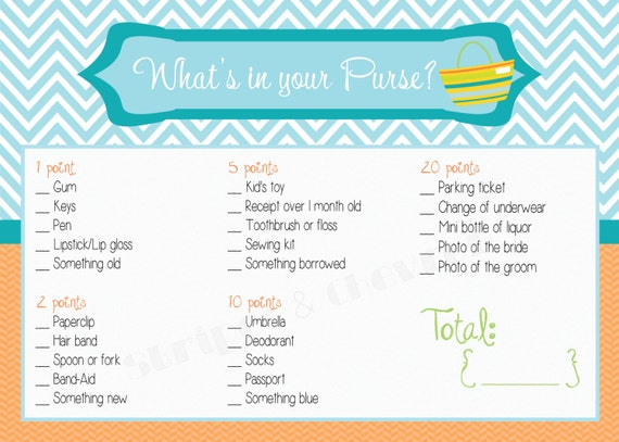 bridal shower game printable wedding shower game whats in your purse instant download fun bridal shower