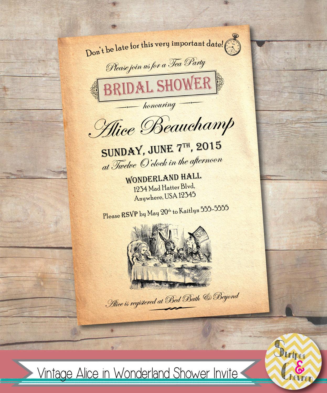 Alice in Wonderland Shower Invitation Printable Alice Baby | Etsy