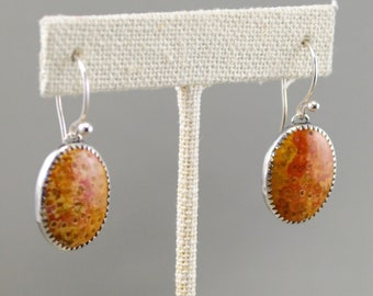 Petrified palm silver earrings with Argentium earring wires.