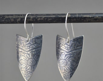 sterling silver patterned earrings with patina
