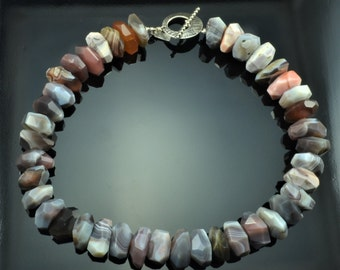 Botswana agate faceted nugget choker necklace