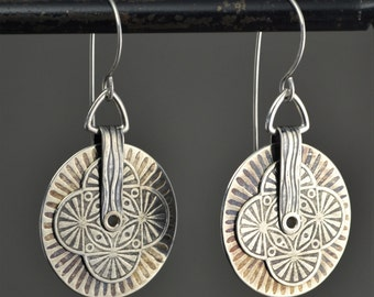 Large Stacked roller printed silver earrings.