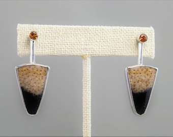 Petrified palm and faceted fire citrine silver post earrings.