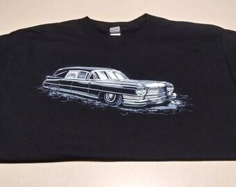 1964 Cadillac hearse t-shirt. Funeral coach.