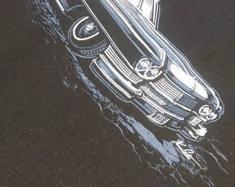 1964 Cadillac hearse tote bag. Funeral coach tote bag 14x16