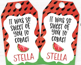 69b0a347e Watermelon Favor Tag, One in a Melon, Watermelon Party Favor, Watermelon  Thank You Tag, Watermelon Favor Label, Girls Summer Birthday, 1st