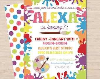 Art Party Invitation - Paint Party Invitation - Paint Party - Art Party Decorations - Painting Party Decorations - Paint Party Decorations