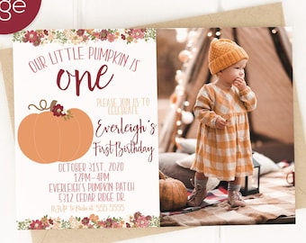 Pumpkin Birthday Party Invitation, Pumpkin Birthday Party Decorations, Little Pumpkin Birthday, Fall Birthday, Girl First Birthday, 1st Birt