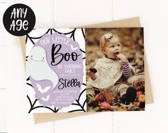 Little Boo Purple Ghost Birthday Party Invitation Halloween Birthday Our Little Boo Decor First Birthday Party 1st Birthday Cute Ghost