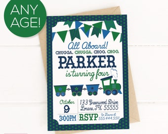 Train Birthday Party Printable Invitation, Train Party, Train Birthday, Boys Birthday, Train Birthday Party Decorations, 1st Birthday, First