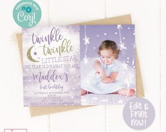 Editable Twinkle Twinkle Little Star Birthday Party Invitation, Girls First Birthday Invite, Twinkle 1st Birthday, Purple, Digital Invite