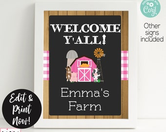 Farm Birthday Party Signs, Farm Welcome Sign, Barnyard Birthday Party Signs, Barnyard Welcome Sign, Farm Barnyard Birthday Party Decorations