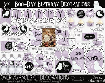 Little Boo Boo Day Purple Ghost Birthday Party Decorations Halloween Birthday Our Little Boo First Birthday Party 1st Birthday Cute Ghost