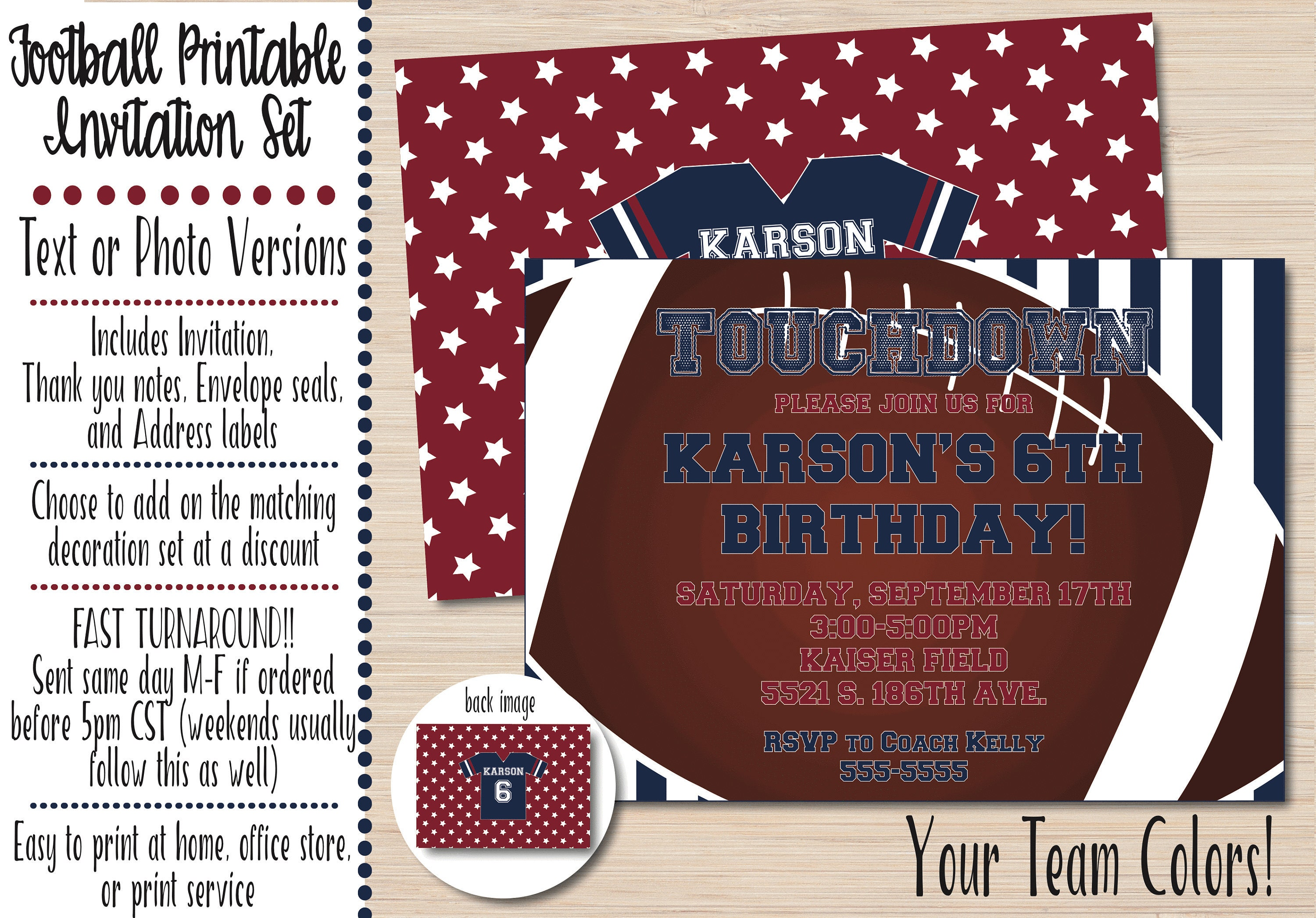 Football Birthday Invitation Football Party Invitation