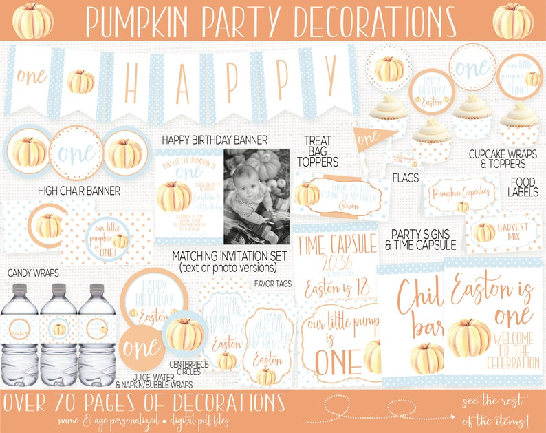 Little Pumpkin Birthday Party Decorations Pumpkin First NO INVITATION