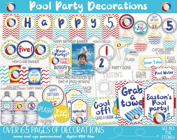 Pool Party Birthday Banner Personalized Decoration